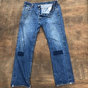 Vtg Levis 501 Buttonfly distressed patch 38X34